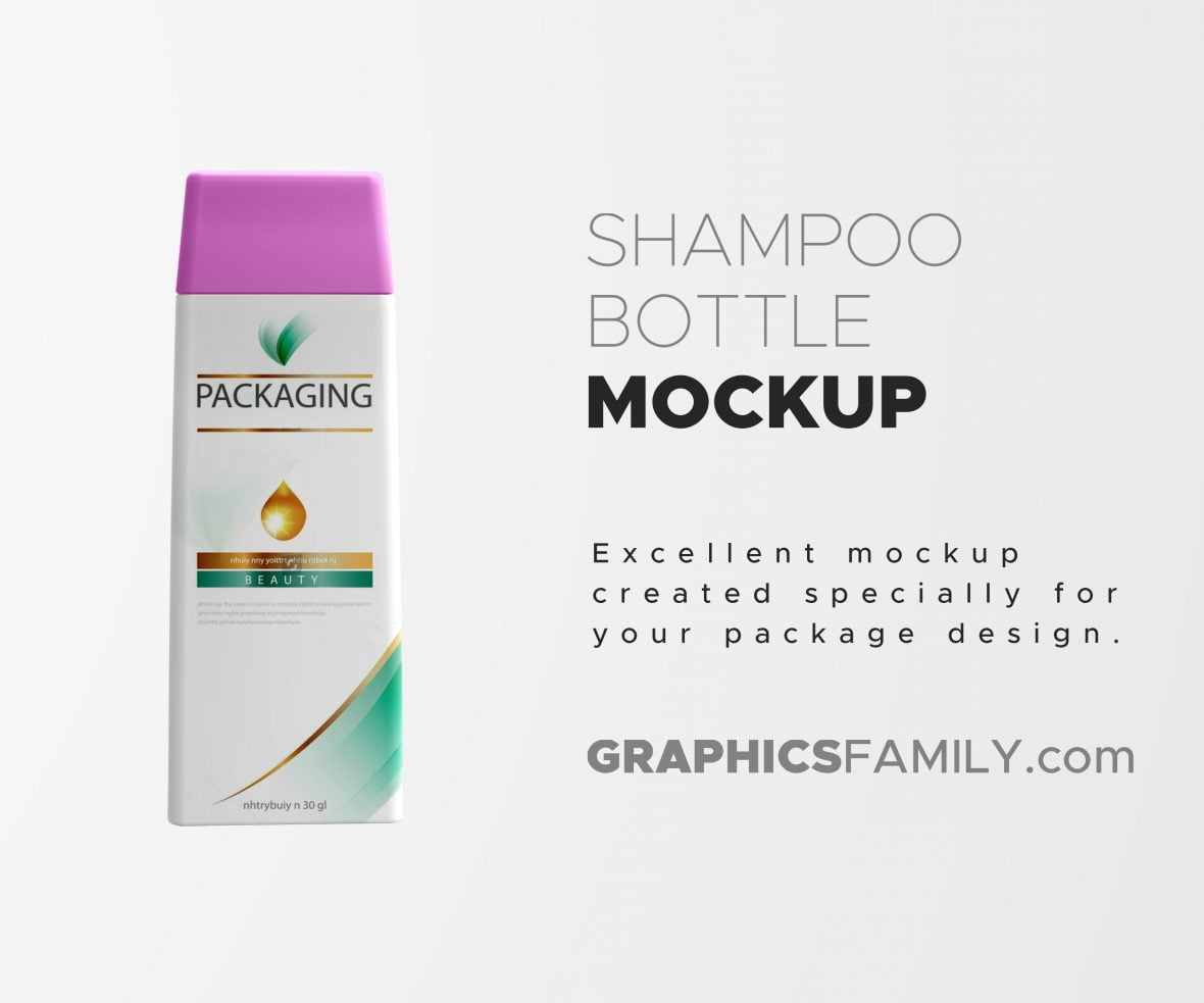 Shampoo Bottle Mockup by GraphicsFamily