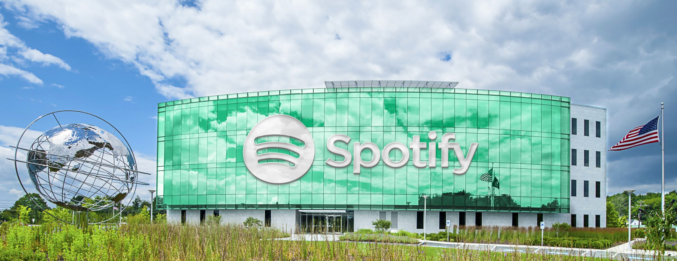 Spotify Wide Realistic Building Logo Mockup