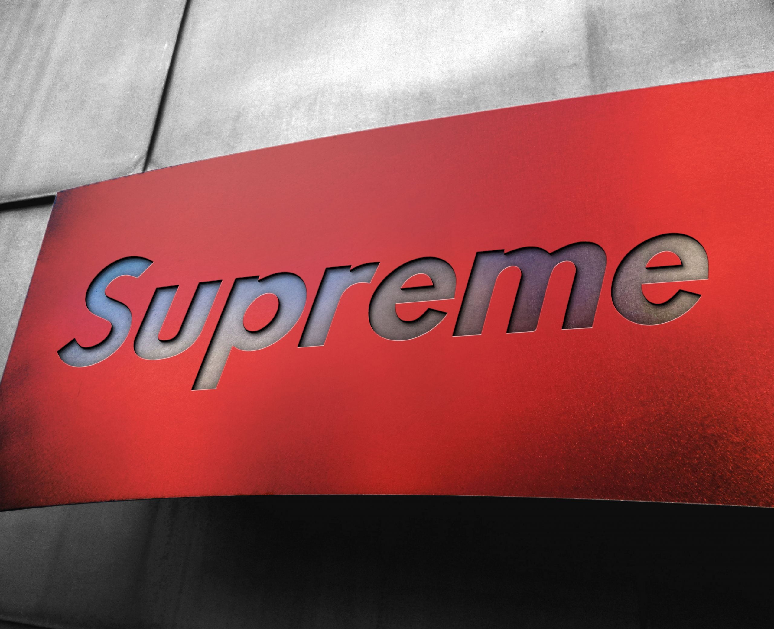 Supreme Free Metal Board Logo Mockup