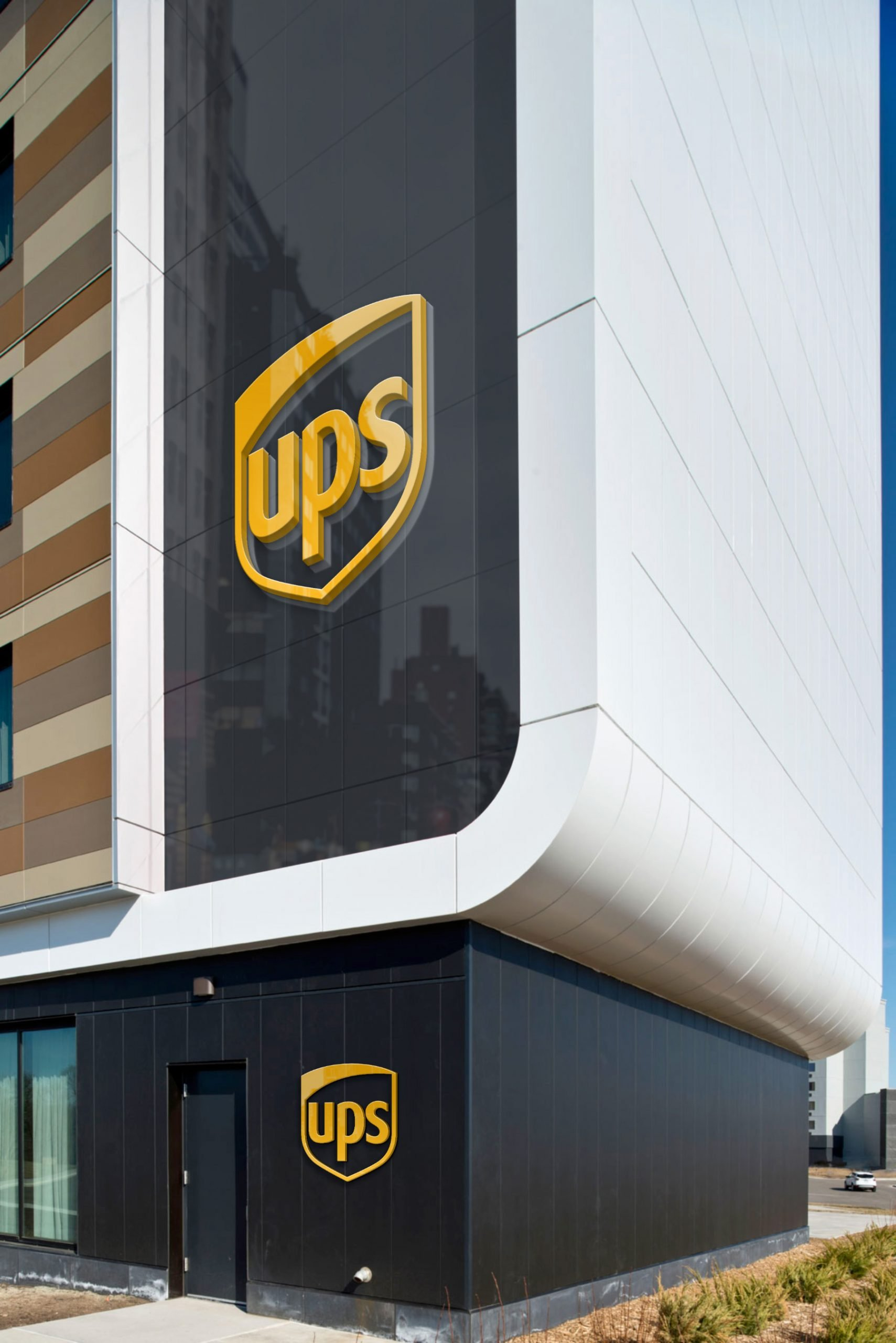 UPS Free Portrait Building Logo Mockup