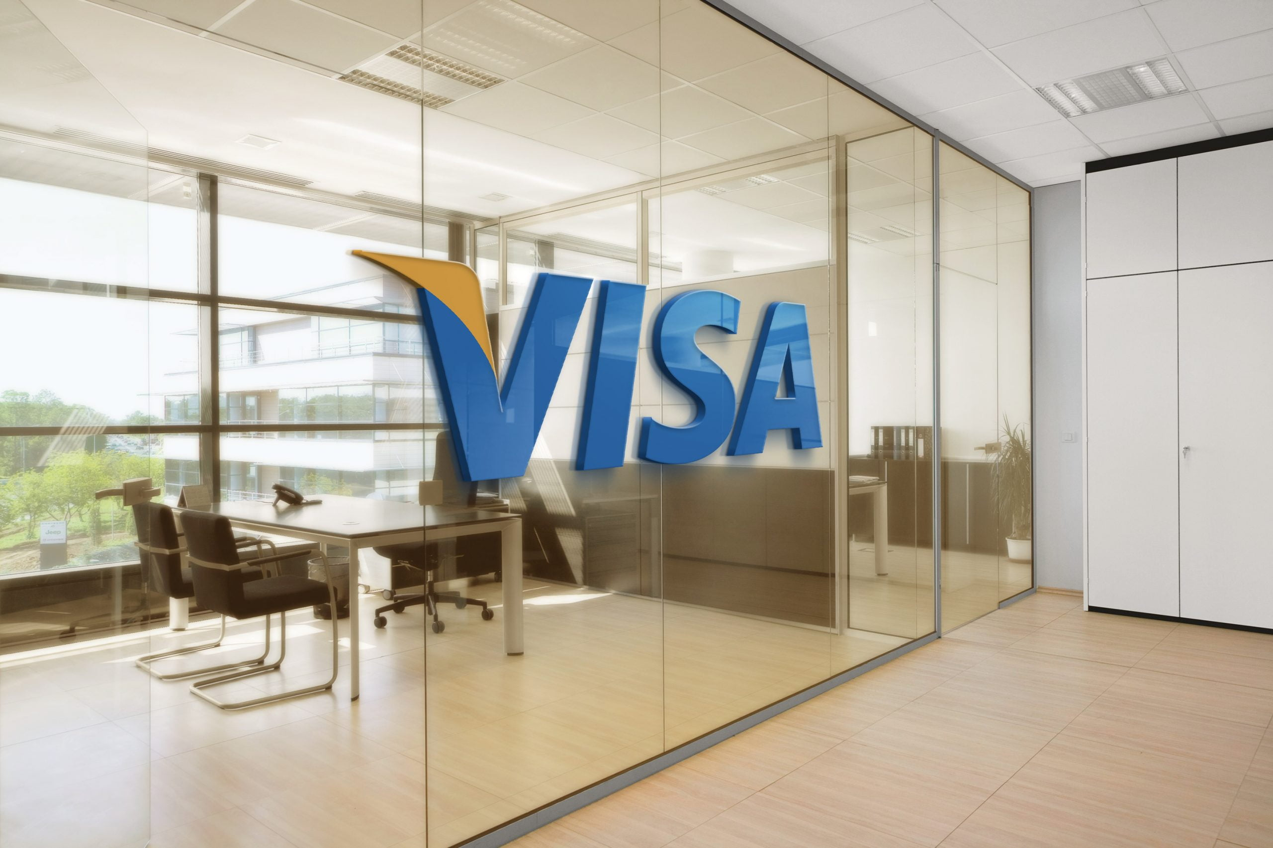 Visa Office Space Window Logo Mockup