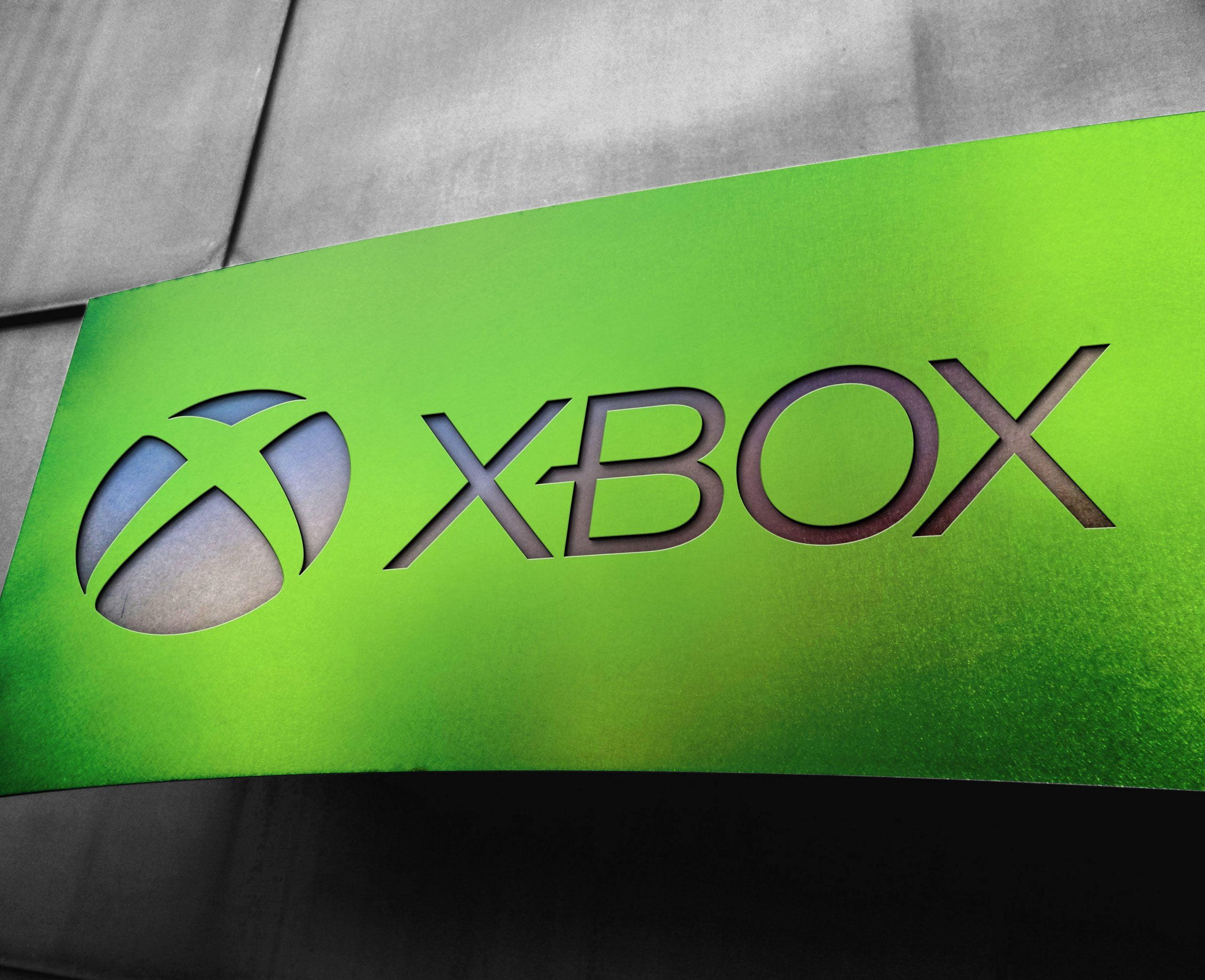 Xbox Free Metal Board Logo Mockup