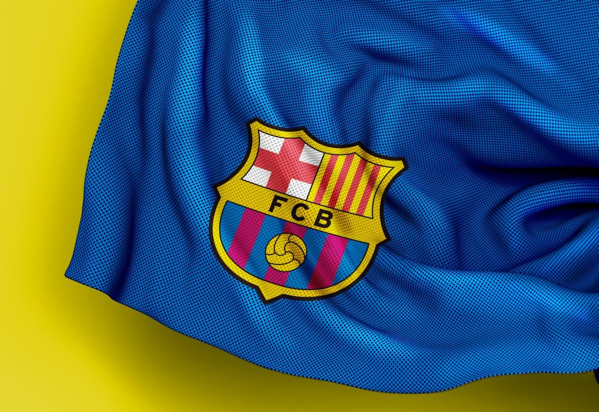 Barcelona Free Jersey Texture Logo Mockup