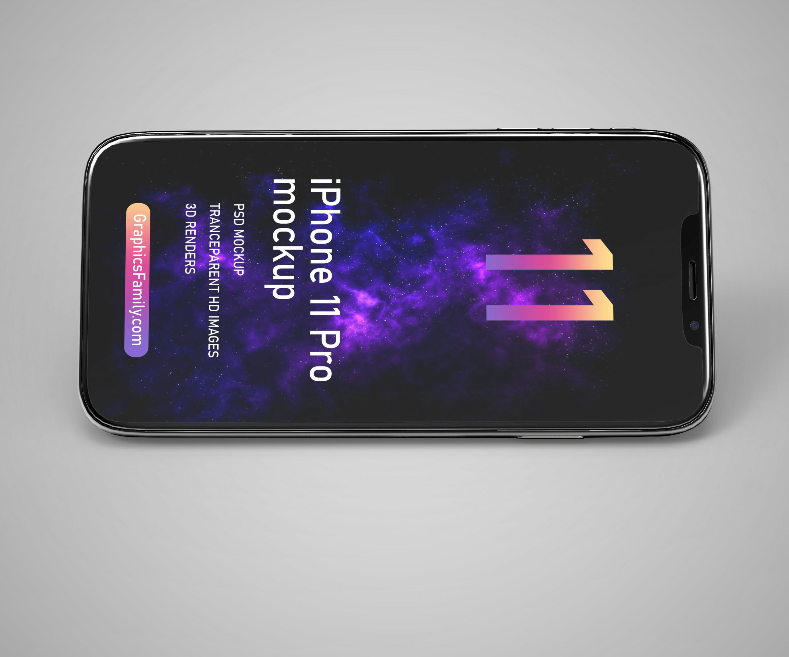 Free iPhone 11 Pro Phone Mockup by GraphicsFamily