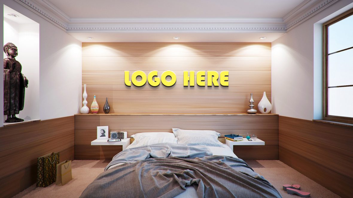 Free Bedroom Logo Mockup by GraphicsFamily
