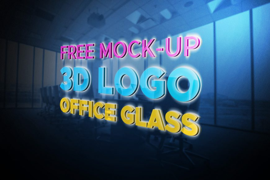 Free Logo Mockup Office Glass 3D by GraphicsFamily