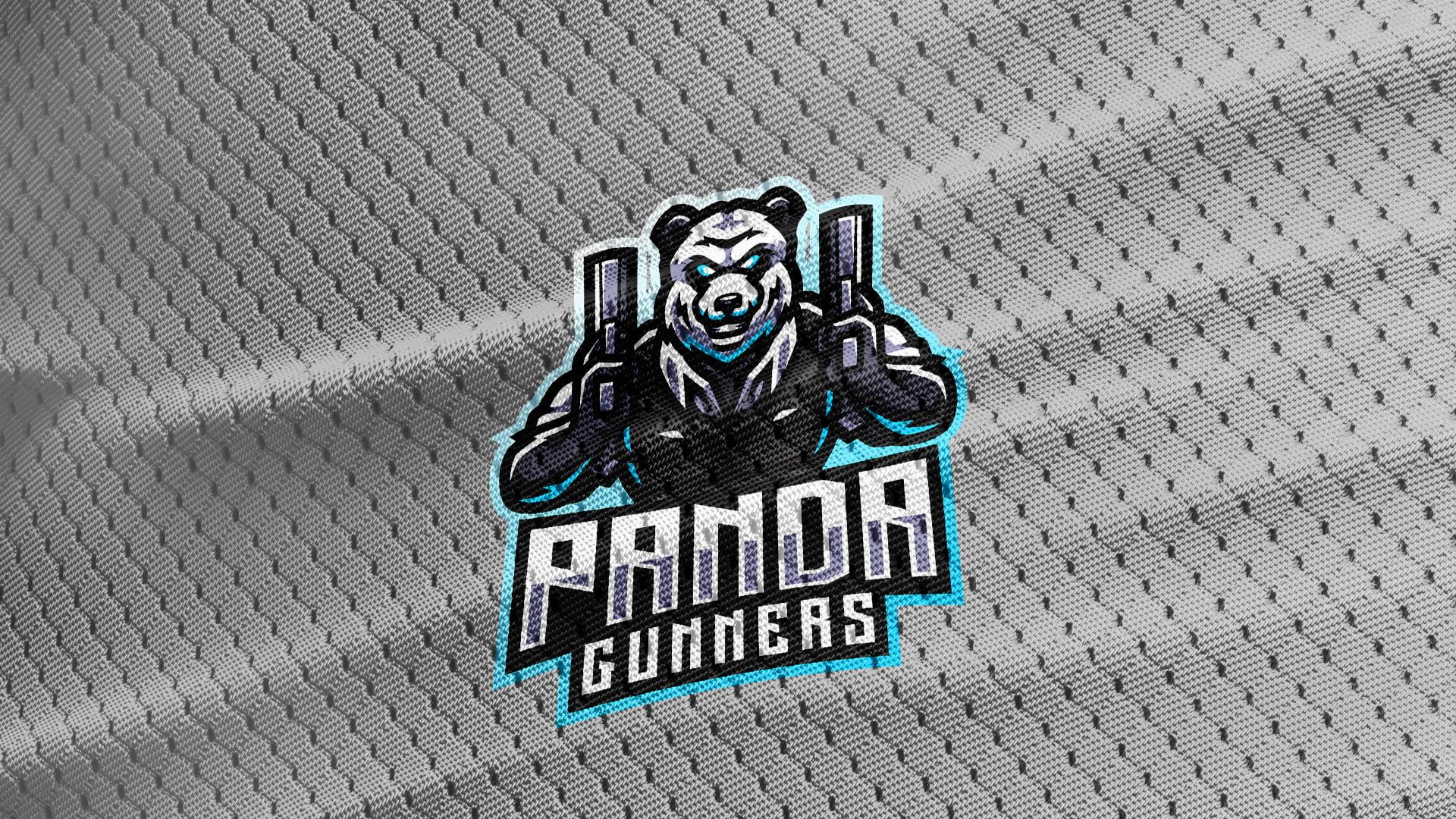 Gray-Jersey-Texture-Free-Download-Panda-Bear-Mascot-Logo