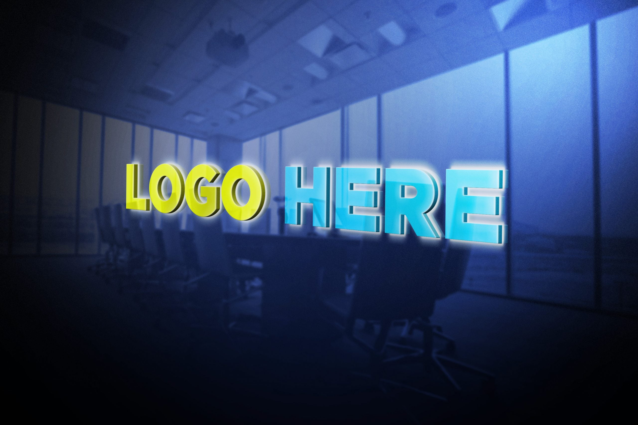 Logo Here Free Logo Mockup Office Glass 3D by GraphicsFamily
