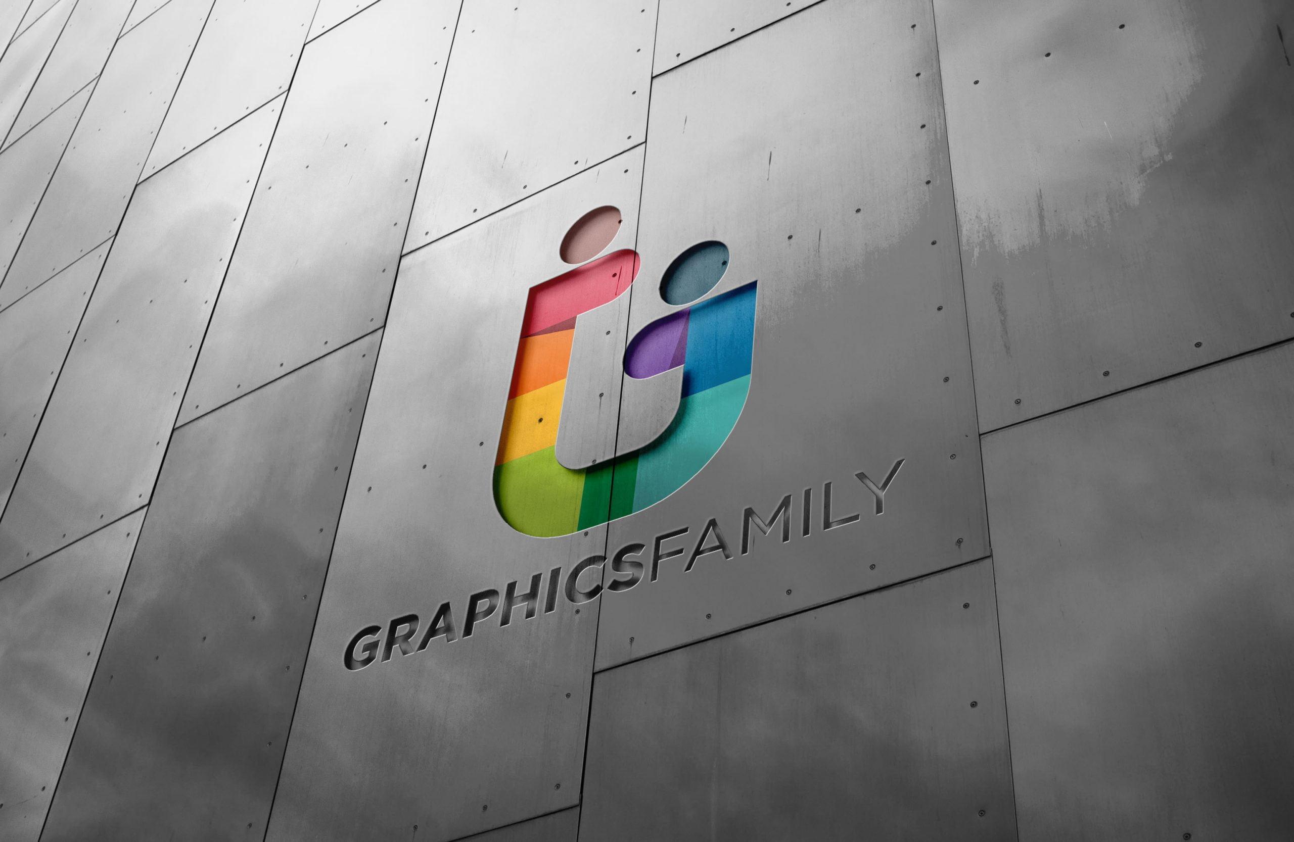 Metal Wall Logo Mockup Graphicfamily2