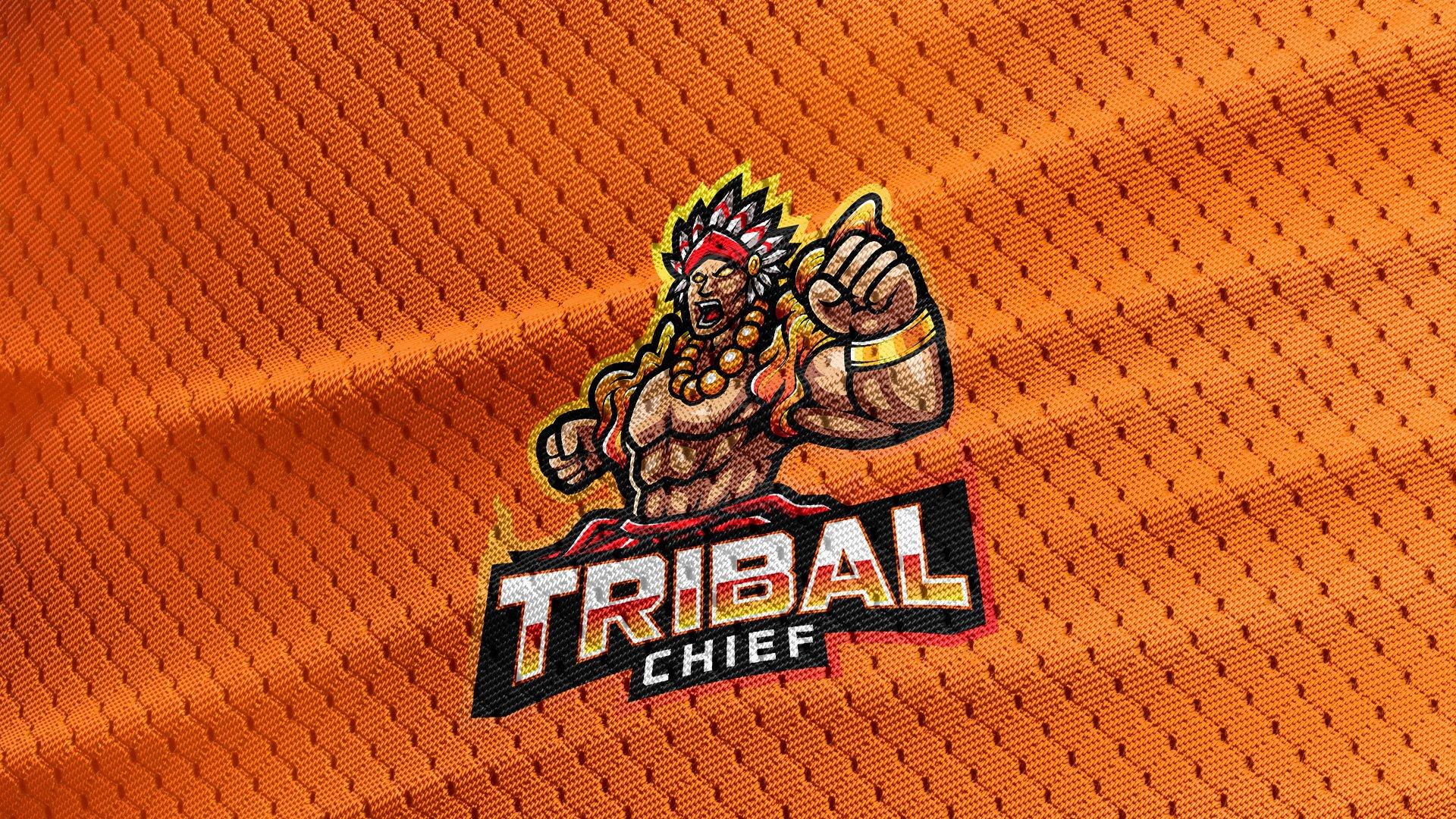 Orange-Jersey-Texture-Free-Download-Tribal-Chief-Logo-Mascot