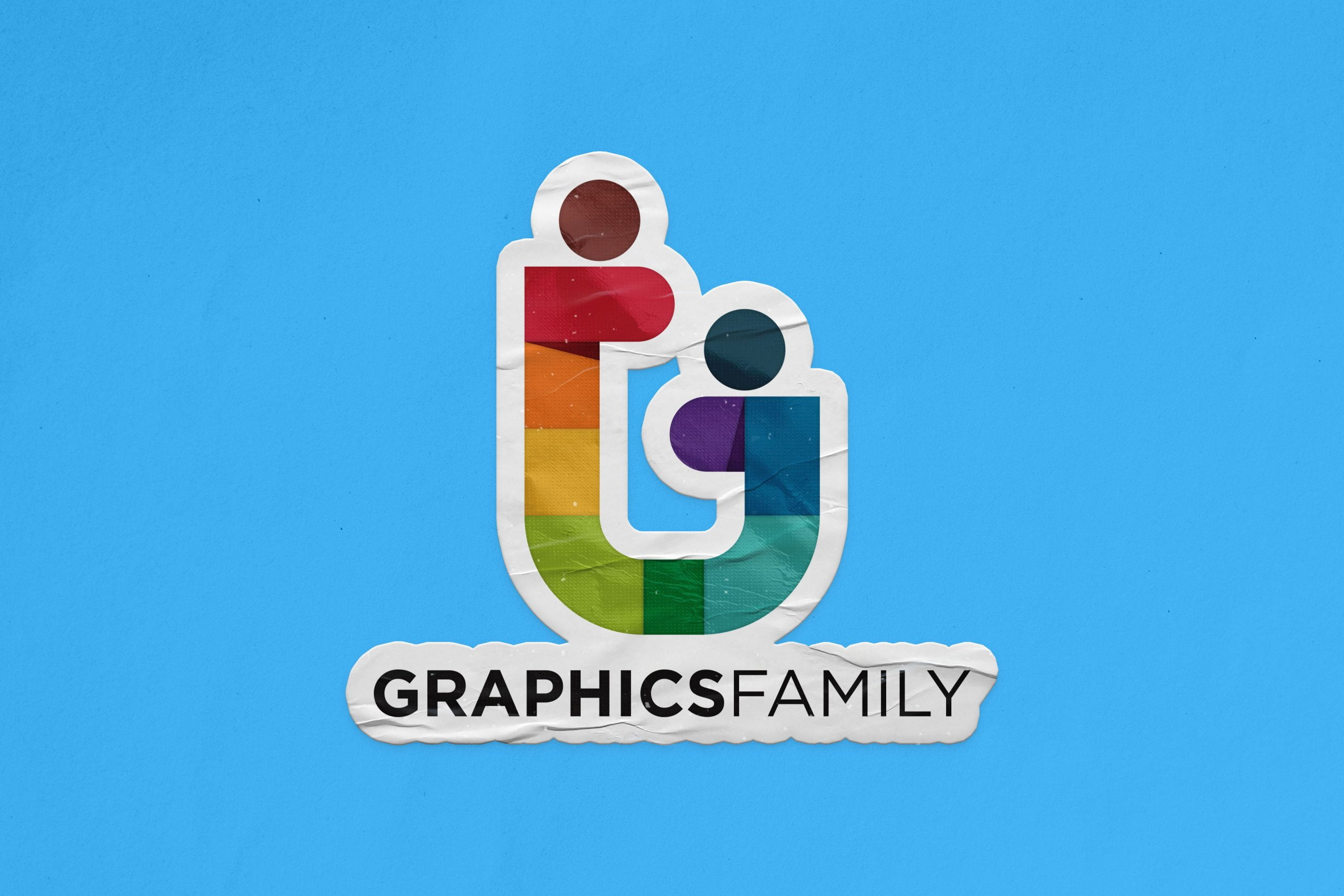 Sticker Logo Mockup Graphic Family