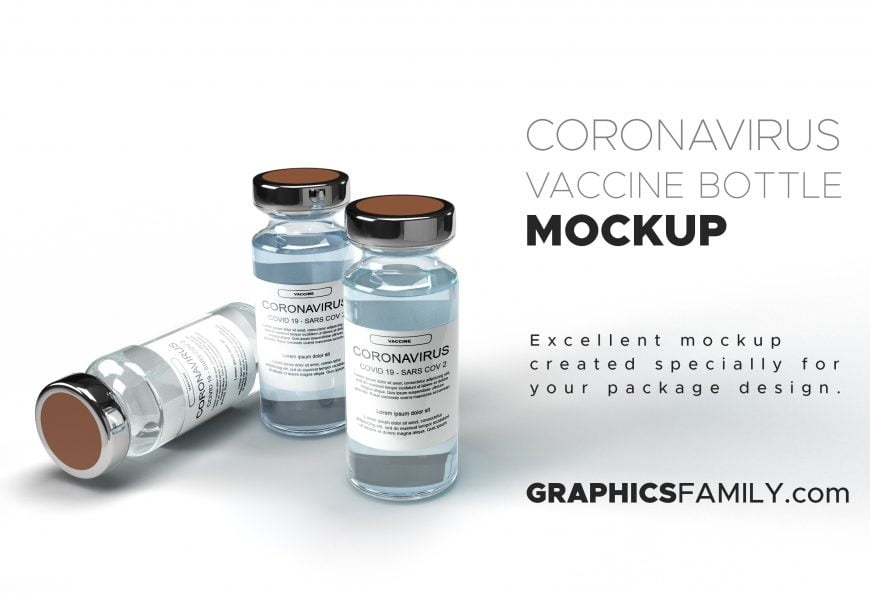Free Coronavirus Vaccine Bottle Mockup