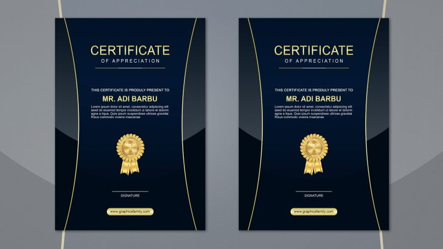 Apprectiation Certificate Design Free PSD