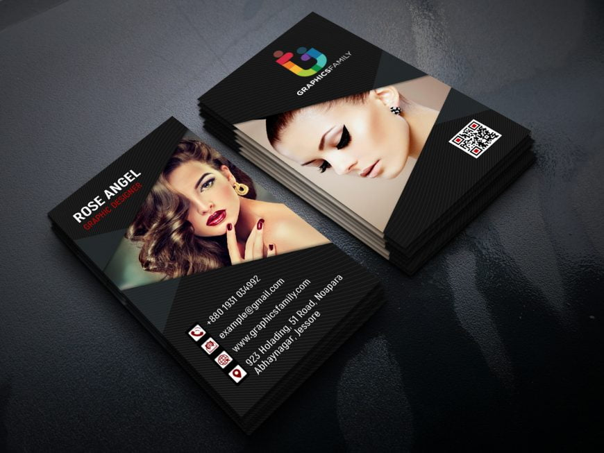 Beauty and Fashion Vertical Business Card Design photoshop Tutorial