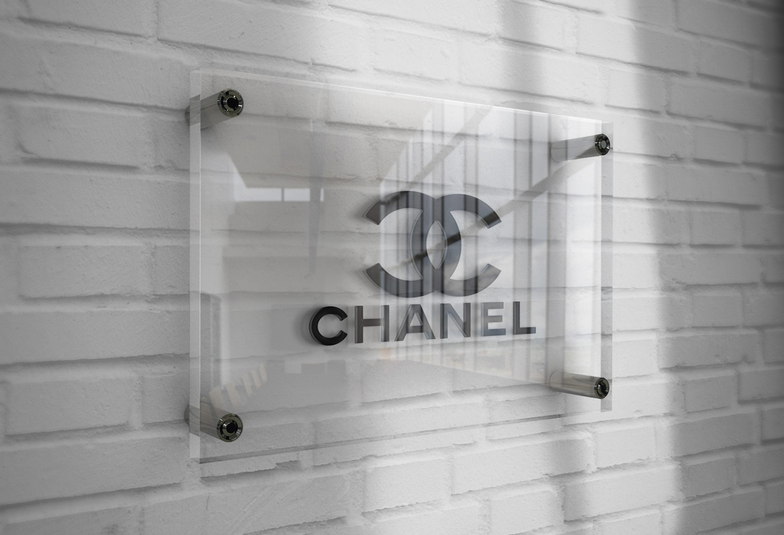 Chanel-Logo-Mockup-3D-Glass-Plate