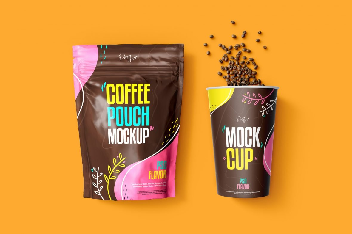 Coffee Pouch with Cup Mockup Premium PSD