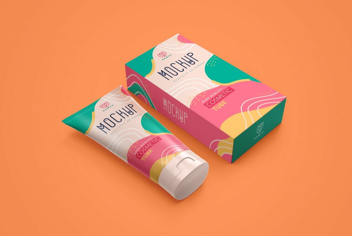 Cosmetic Tube & Box Mockup