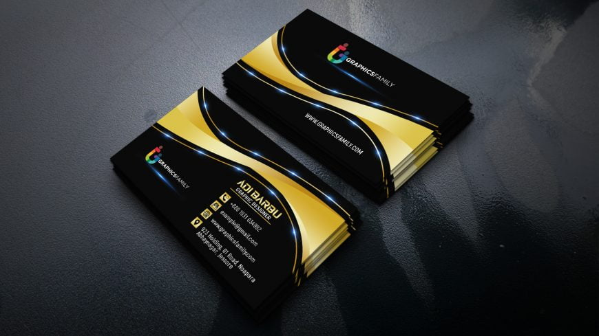 Elegant Dark Gold Business Card Design