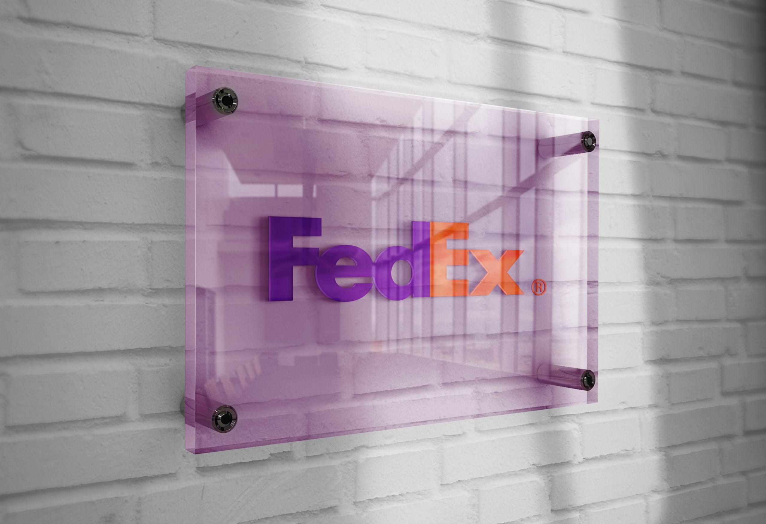 Fedex-Logo-Mockup-3D-Glass-Plate