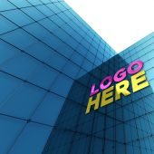 Exterior Building Glass Wall Logo Mockup