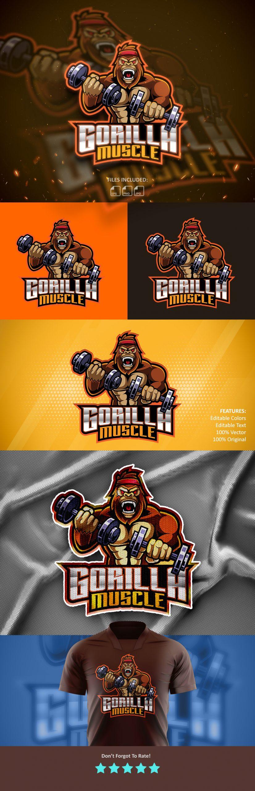 Free-Download-Gorilla-Muscle-Mascot-Logo