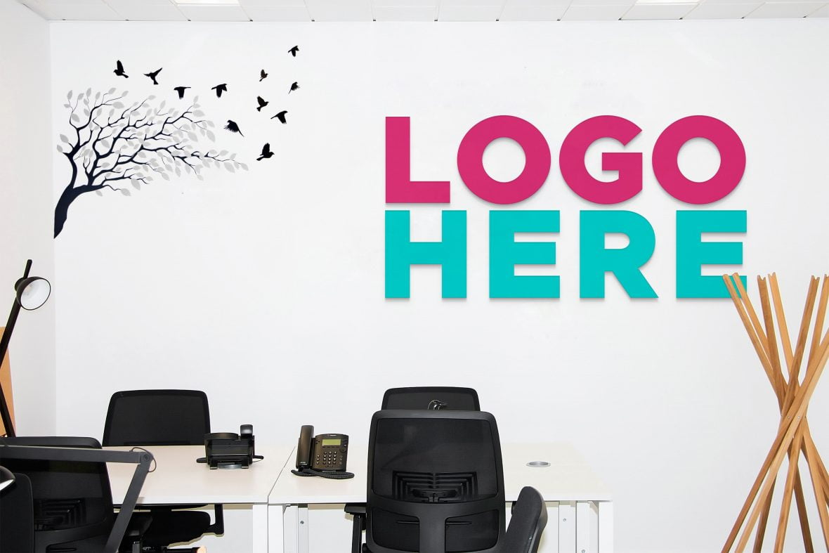 Office Work Area Logo Mockup by GraphicsFamily