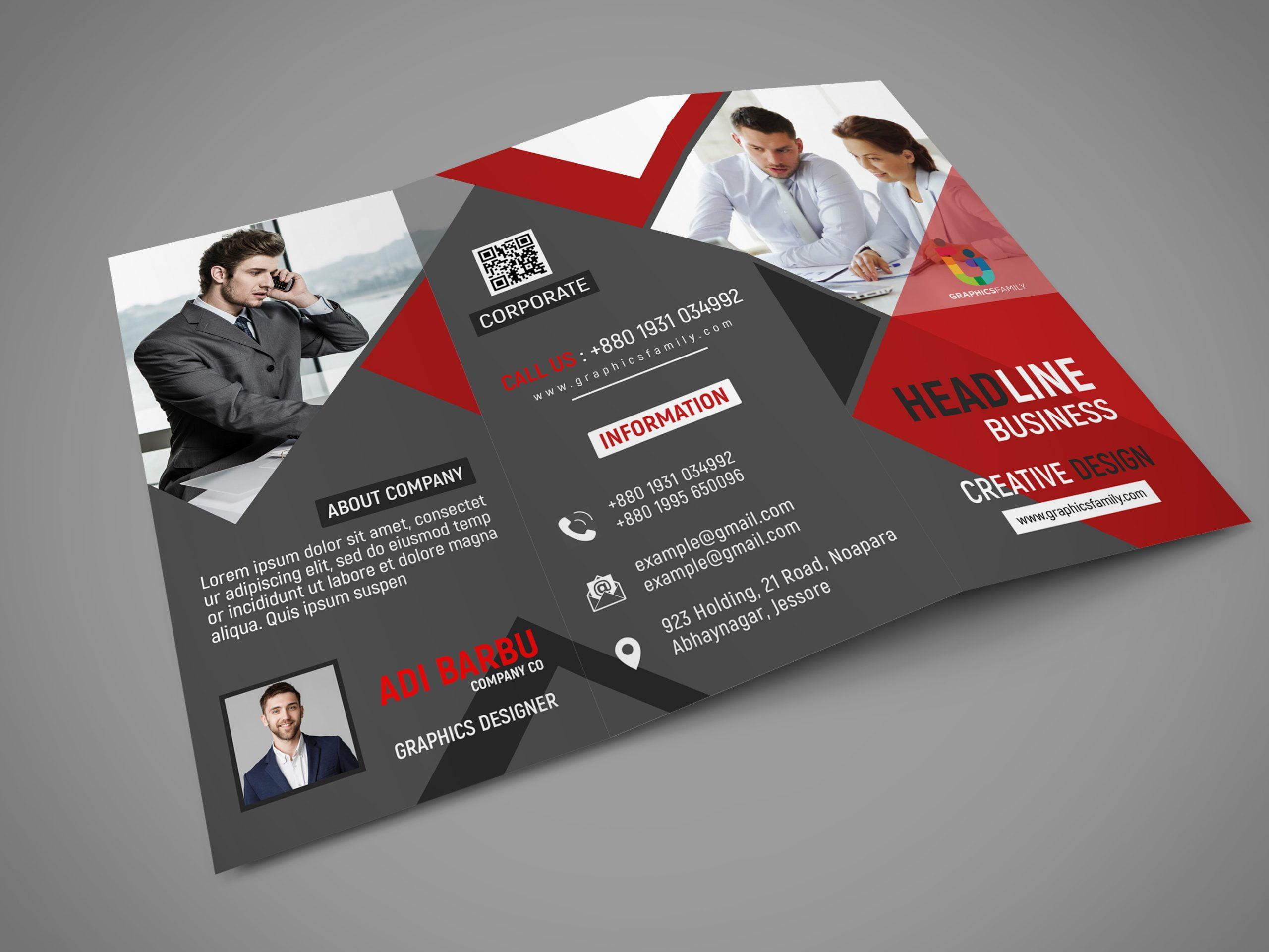 Free Download Tri Fold Panel PSD Business Brochure Design