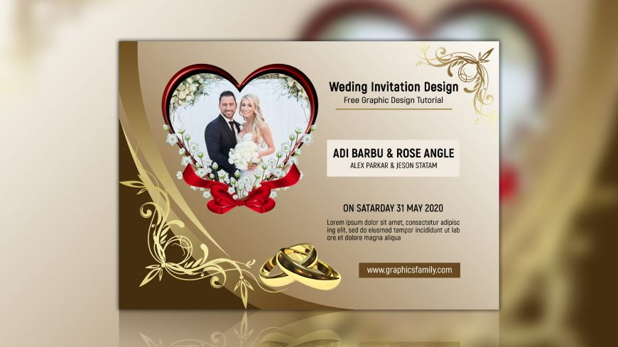 Free Golden Wedding Invitation Photoshop Template
