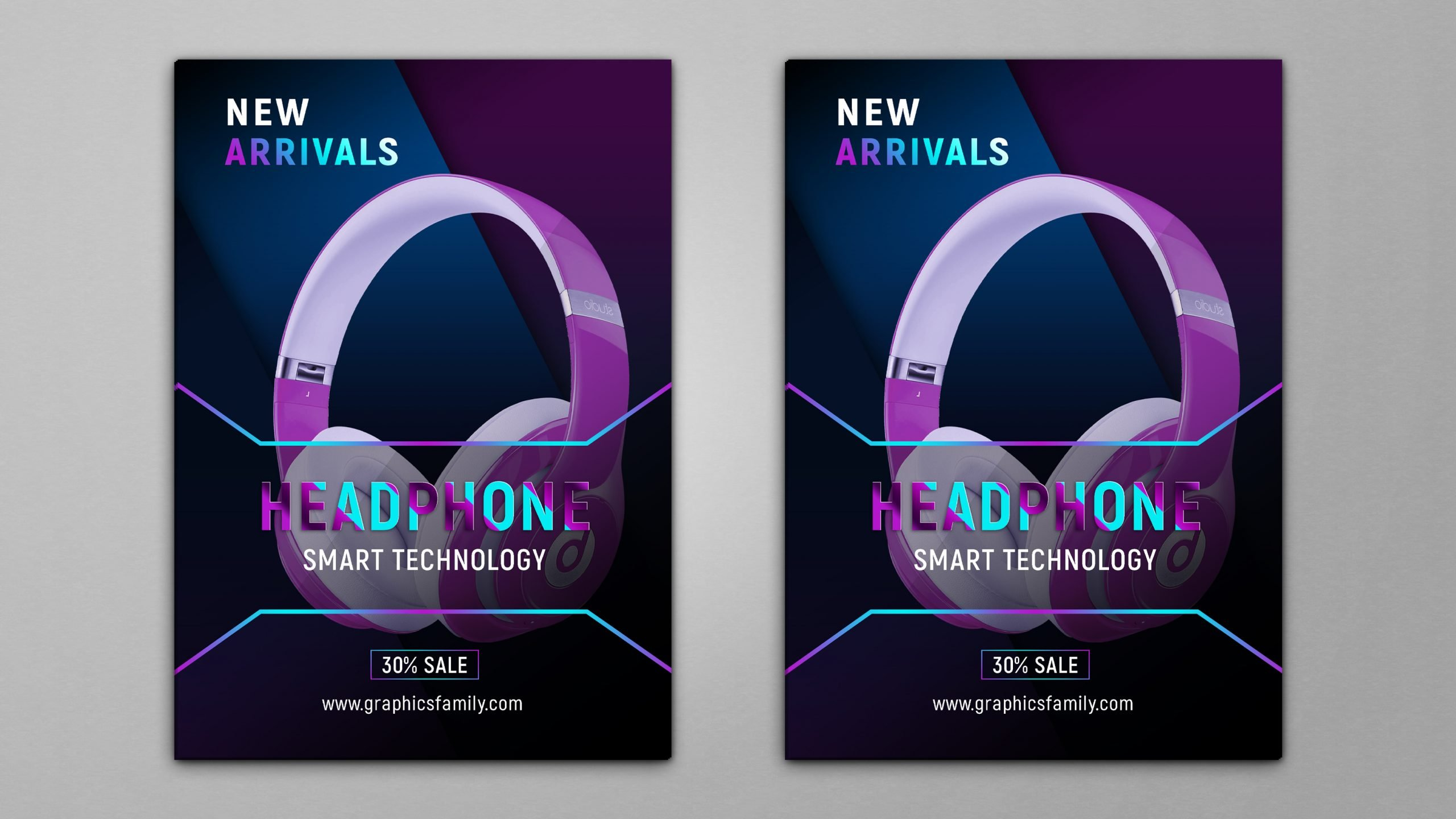 Free Headphones Flyer Design Template by GraphicsFamily