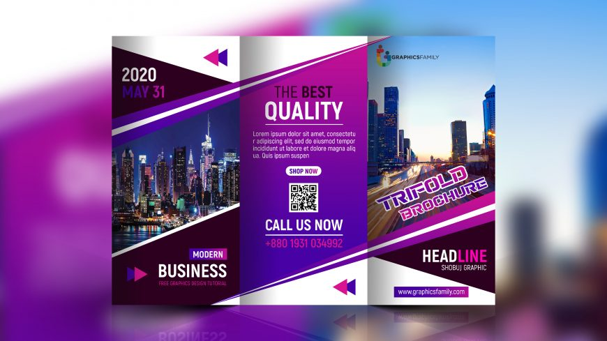 Free Modern Business Trifold Brochure PSD Template