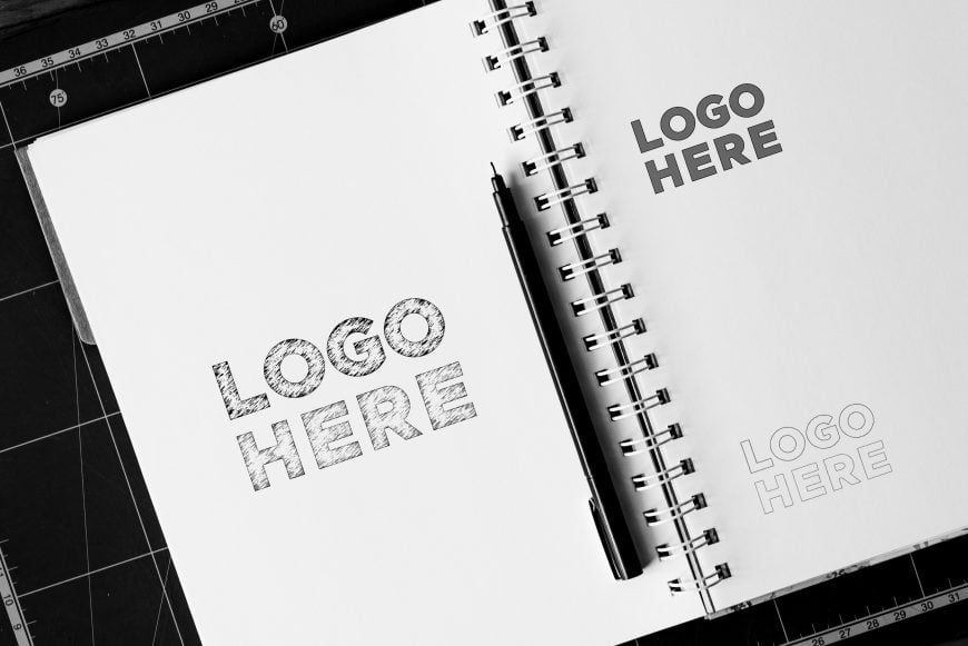 Notebook Sketch Logo Mockup by GraphicsFamily