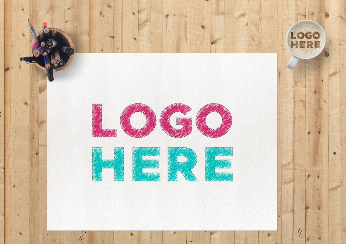 Sketch Paper Logo Mockup by GraphicsFamily