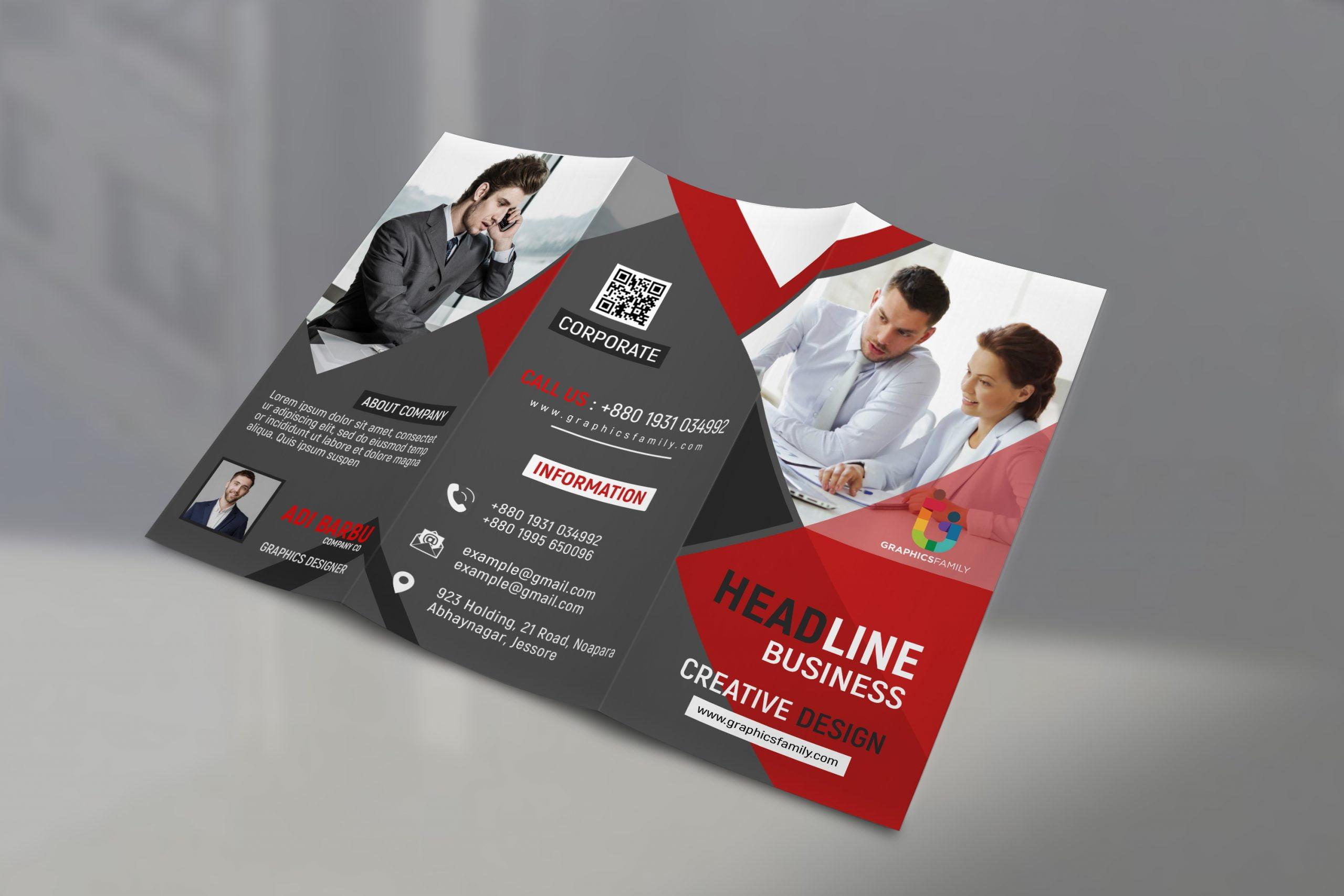 Free Tri Fold Panel PSD Business Brochure Design
