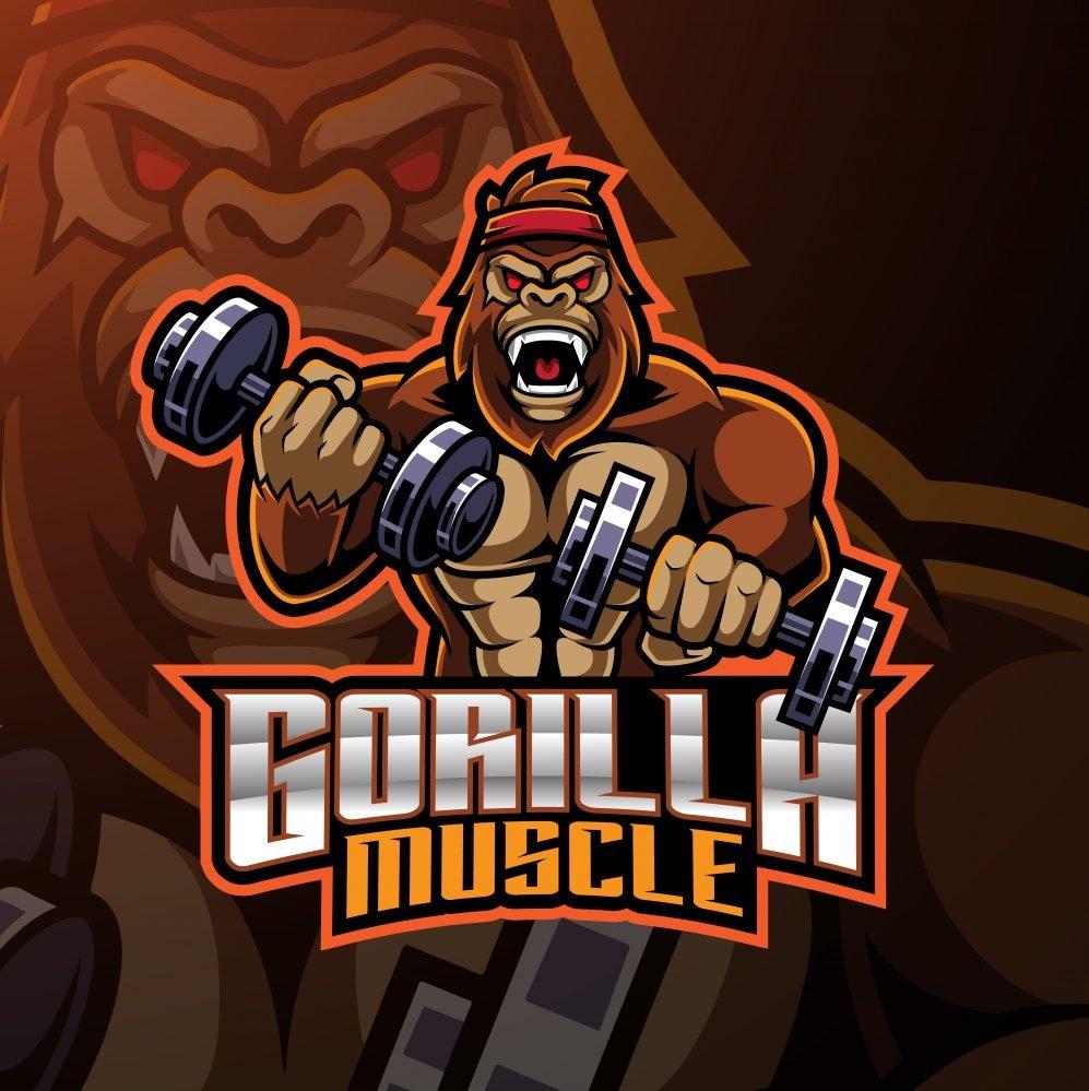 Gorilla Muscle Mascot Logo