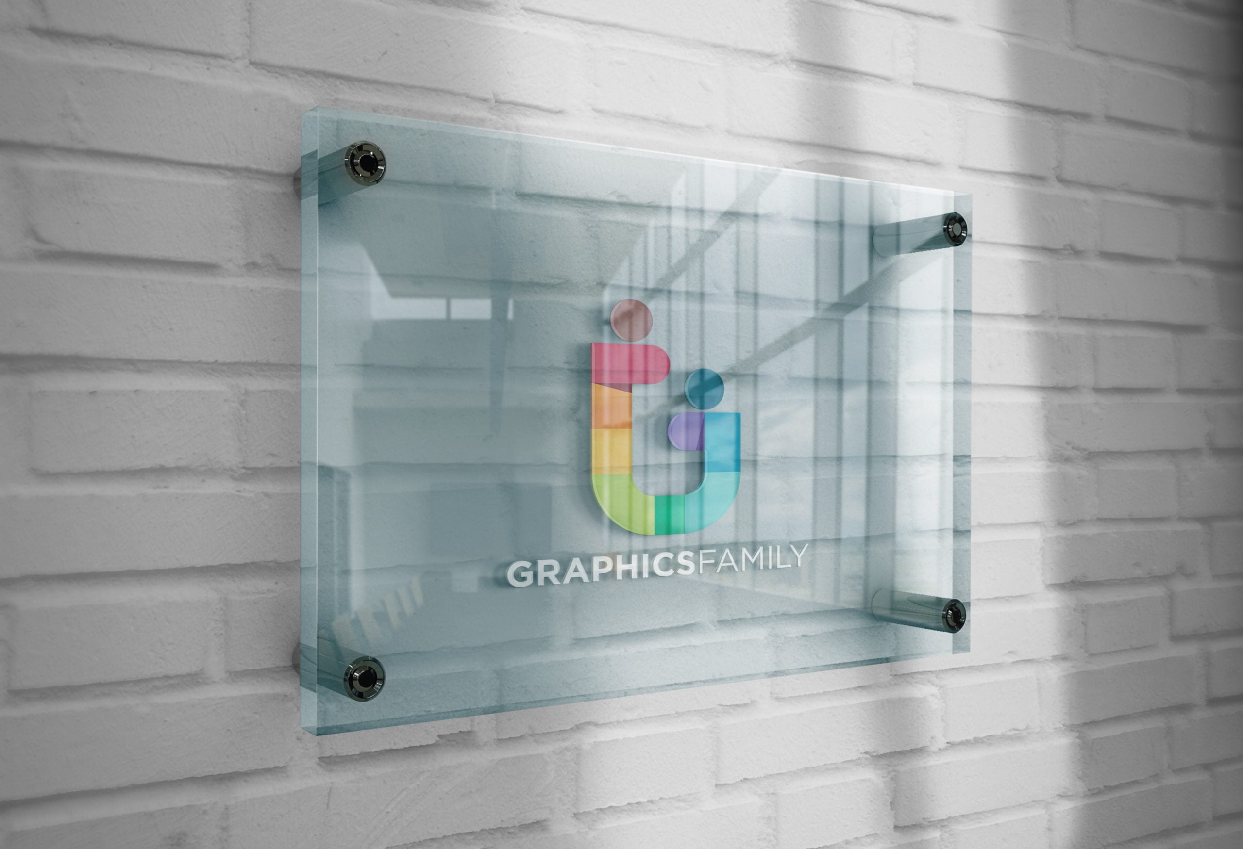 GraphicsFamily-Logo-Mockup-3D-Glass-Plate