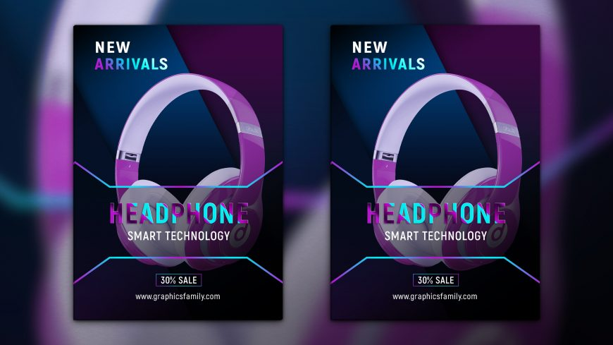 Headphones Flyer Design Template Download