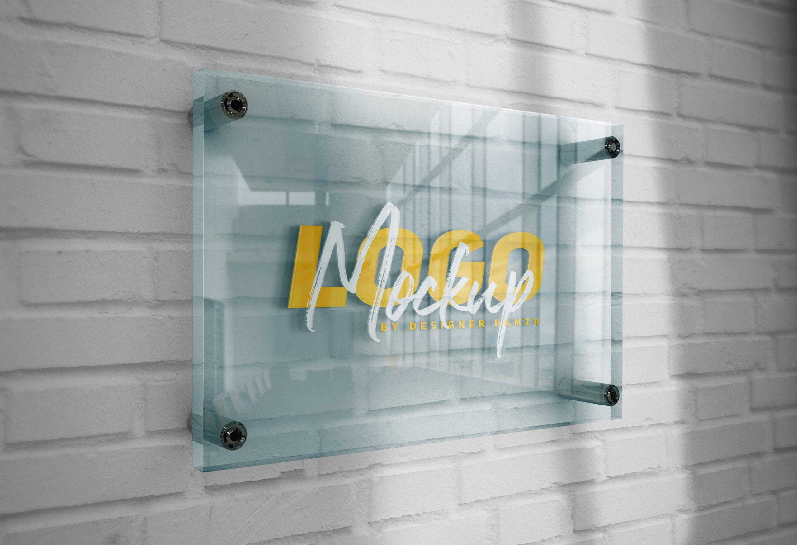 Logo Mockup 3D Glass Plate