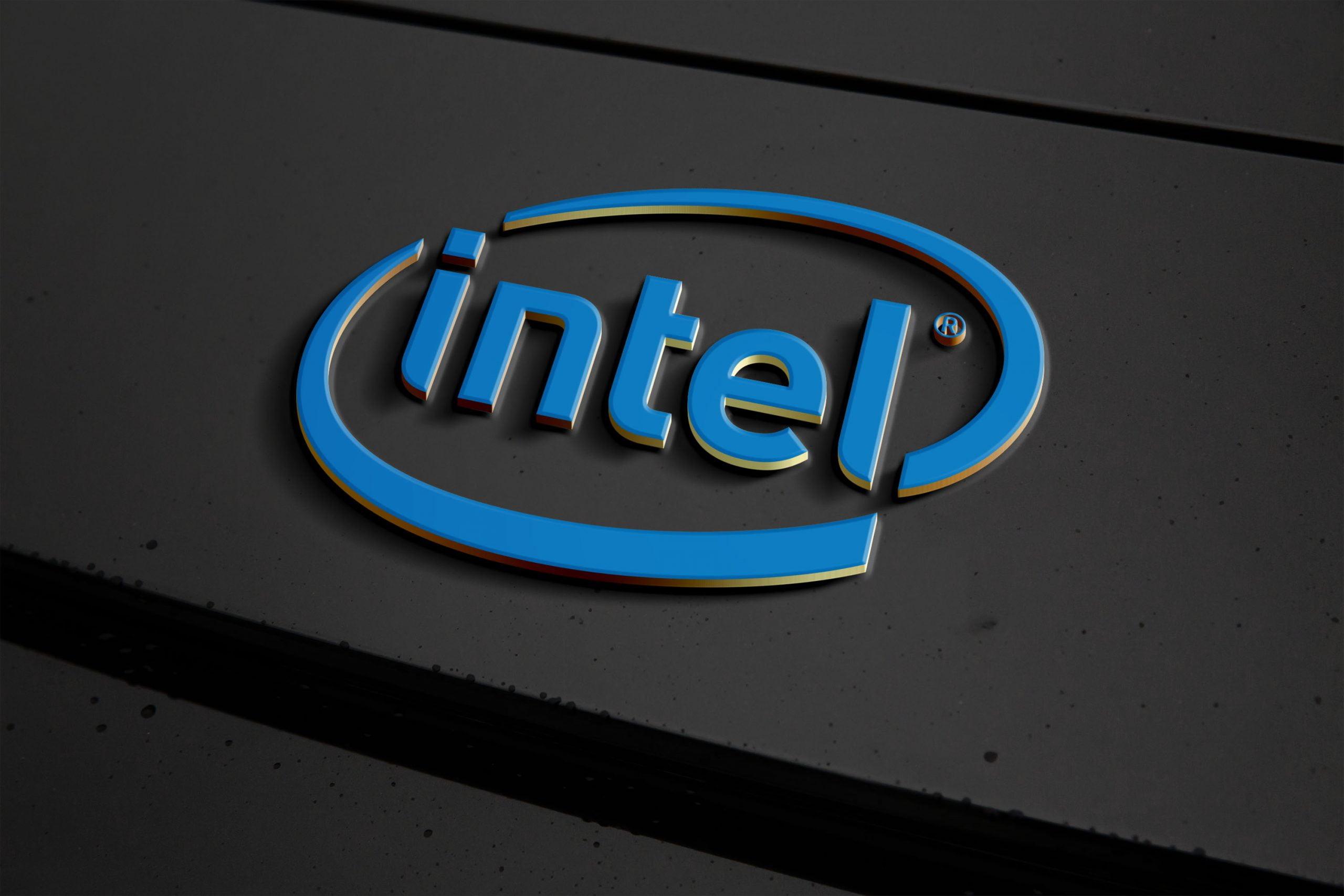 Metal Logo Effect Mockup Intel
