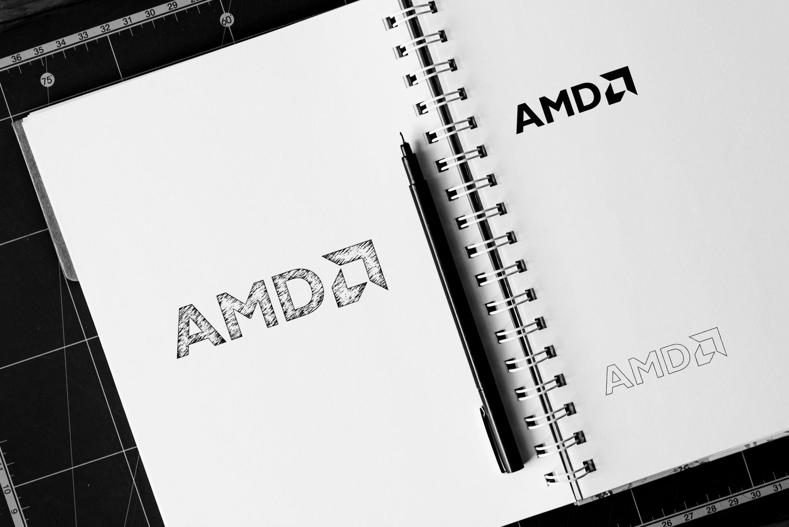 Notebook Sketch Logo Mockup AMD