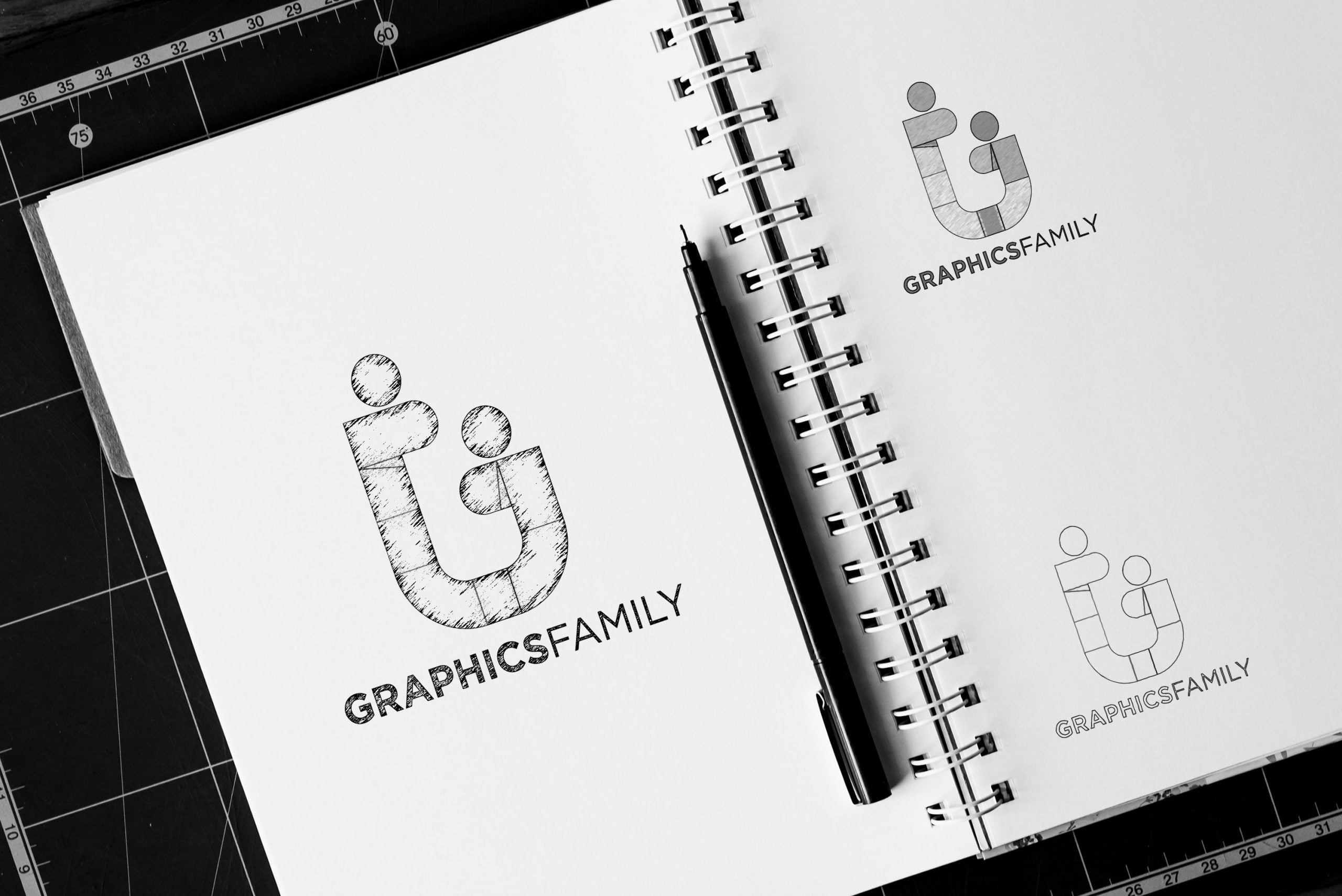 Notebook Sketch Logo Mockup Graphic Family