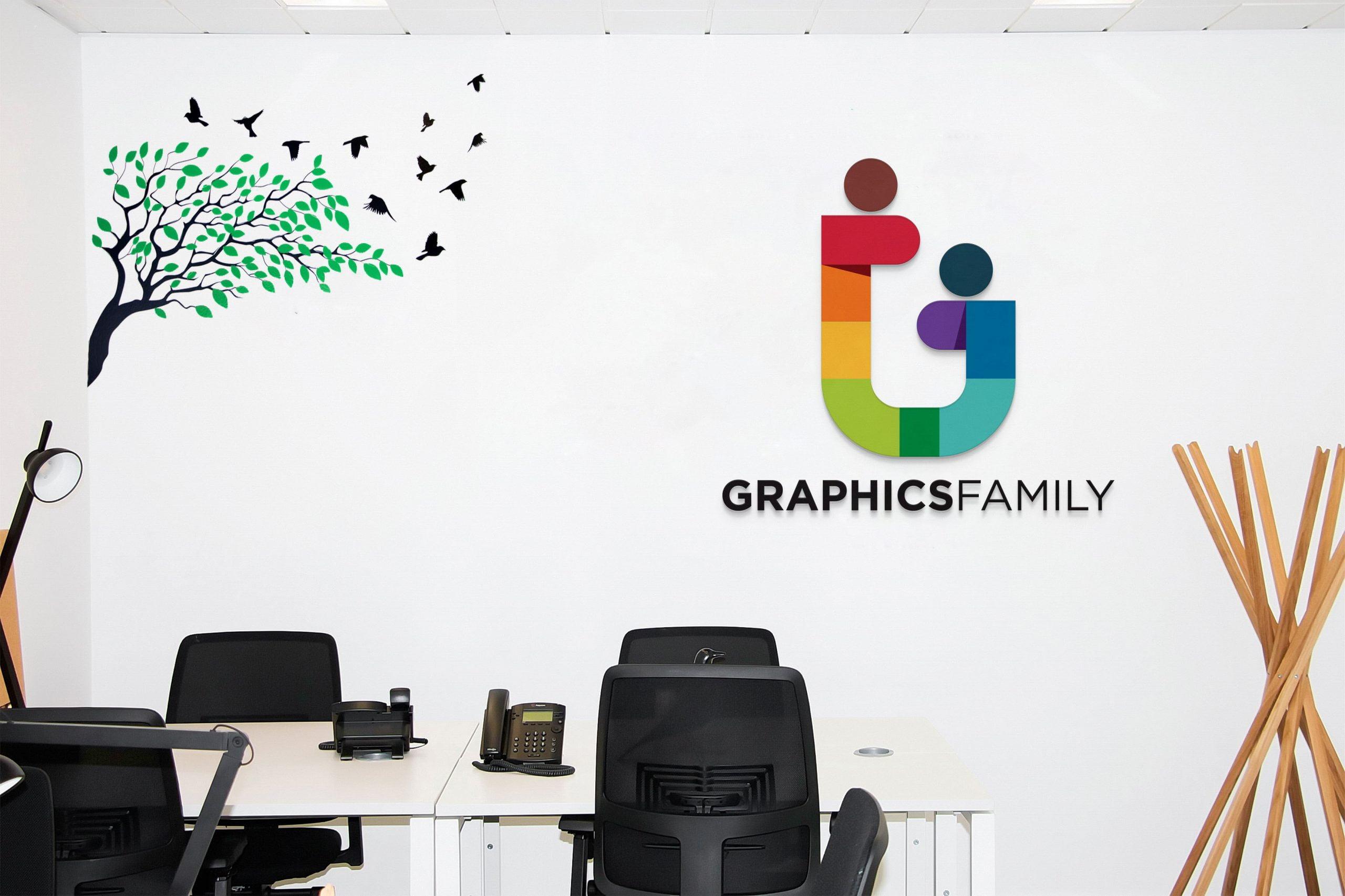 Office Work Area Logo Mockup