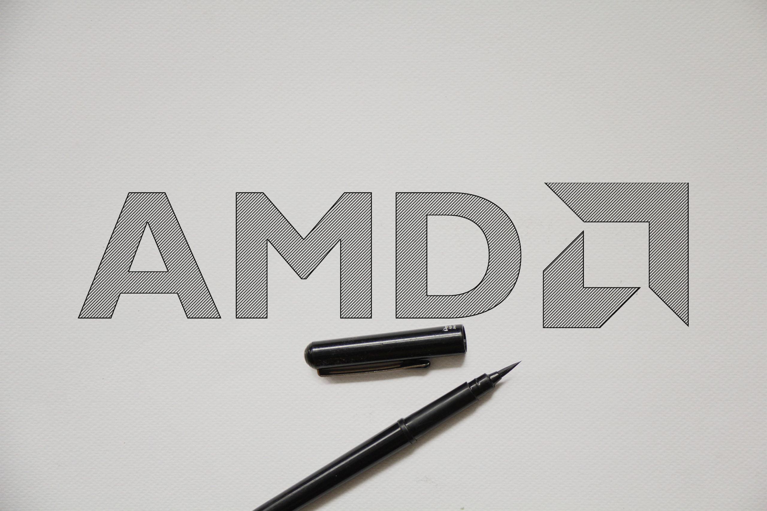 Outline Sketch logo Mockup AMD