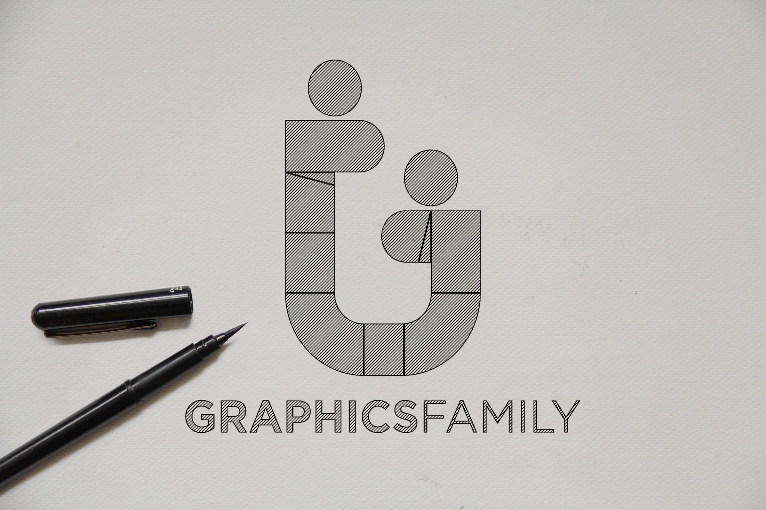 Outline Sketch logo Mockup Graphicfamily