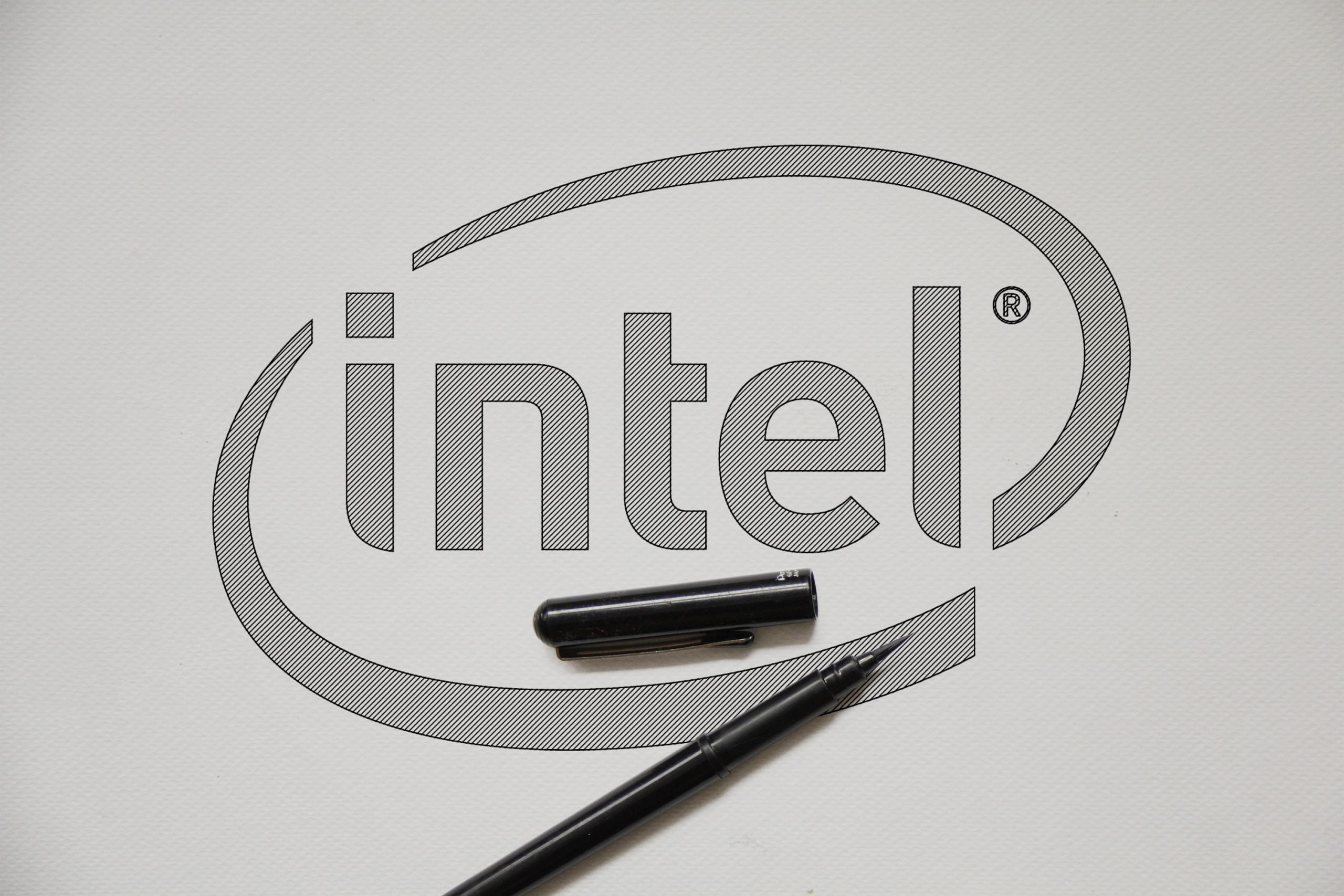 Outline Sketch logo Mockup Intels