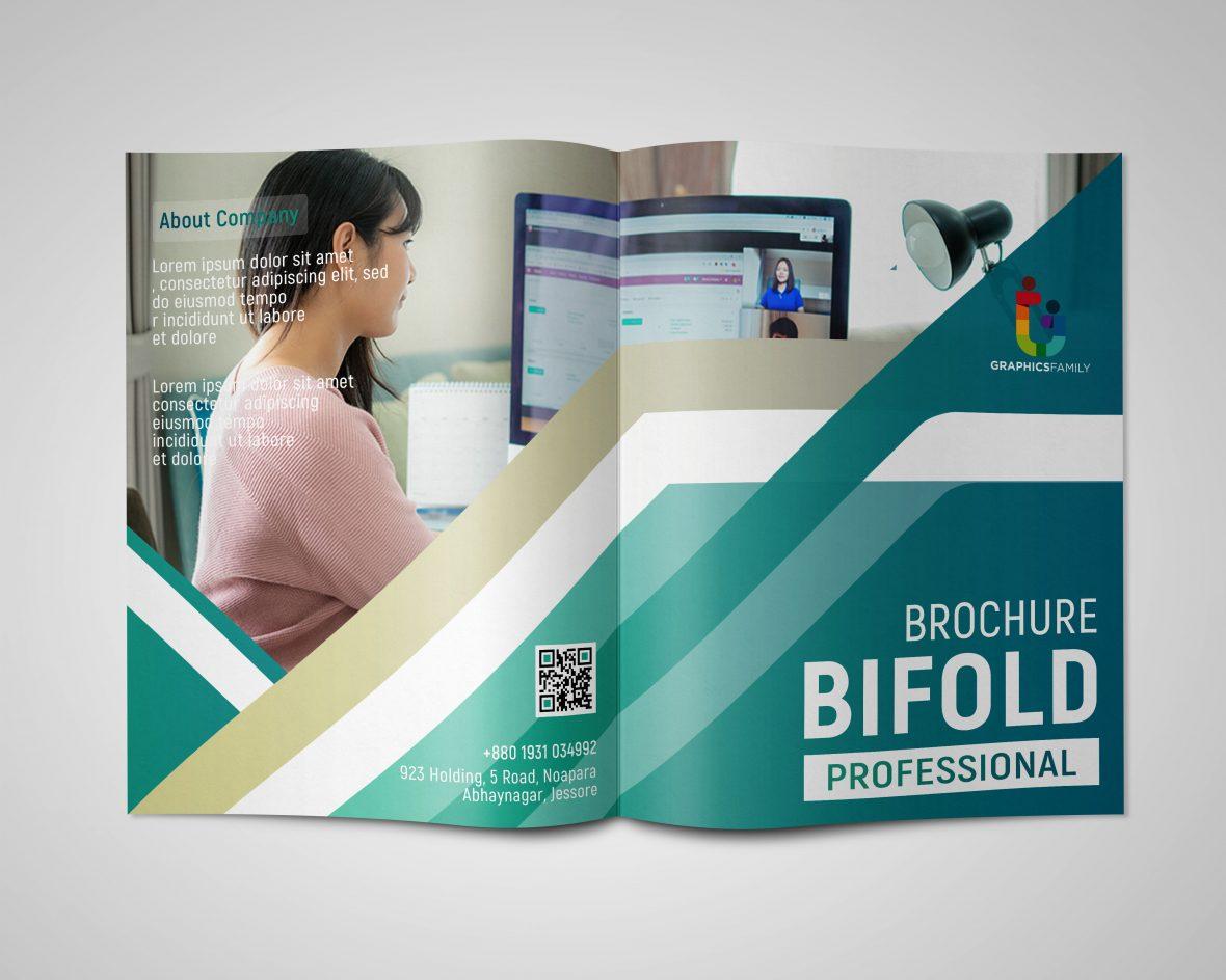 Professional Company Bi Fold Brochure Design Photoshop Template