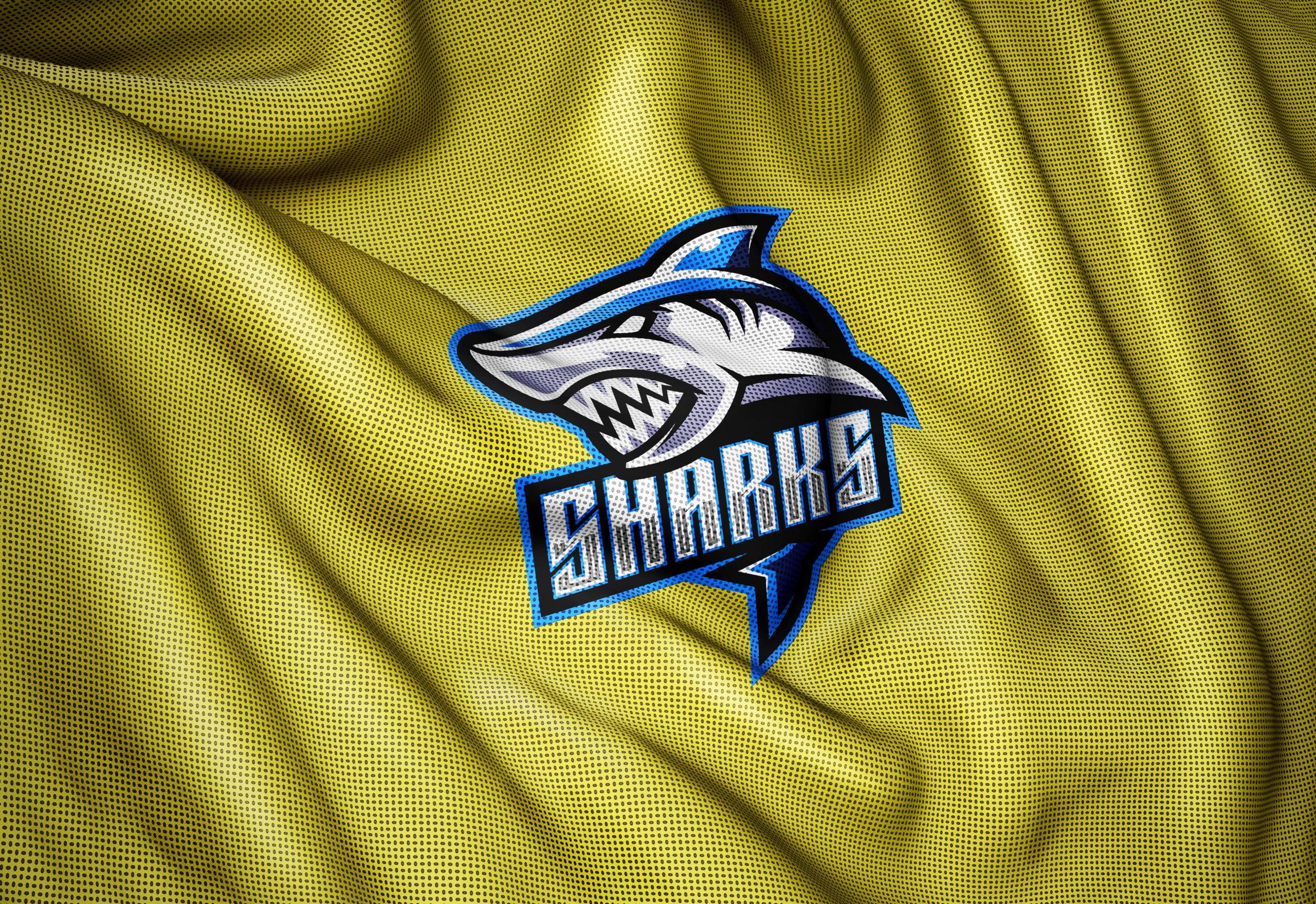 : Sharks-Mascot-Logo-Sports-Jersey-Fabric-Texture-Photoshop-Logo-Mockup