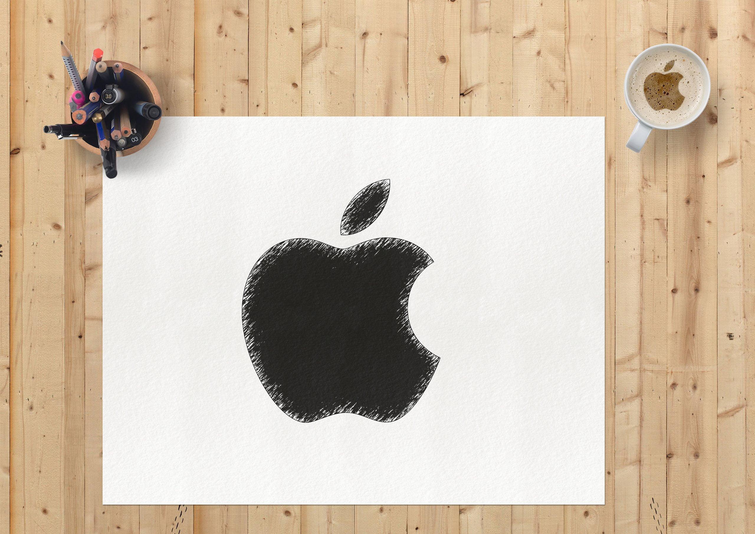 Sketch Paper Logo Mockup Apple