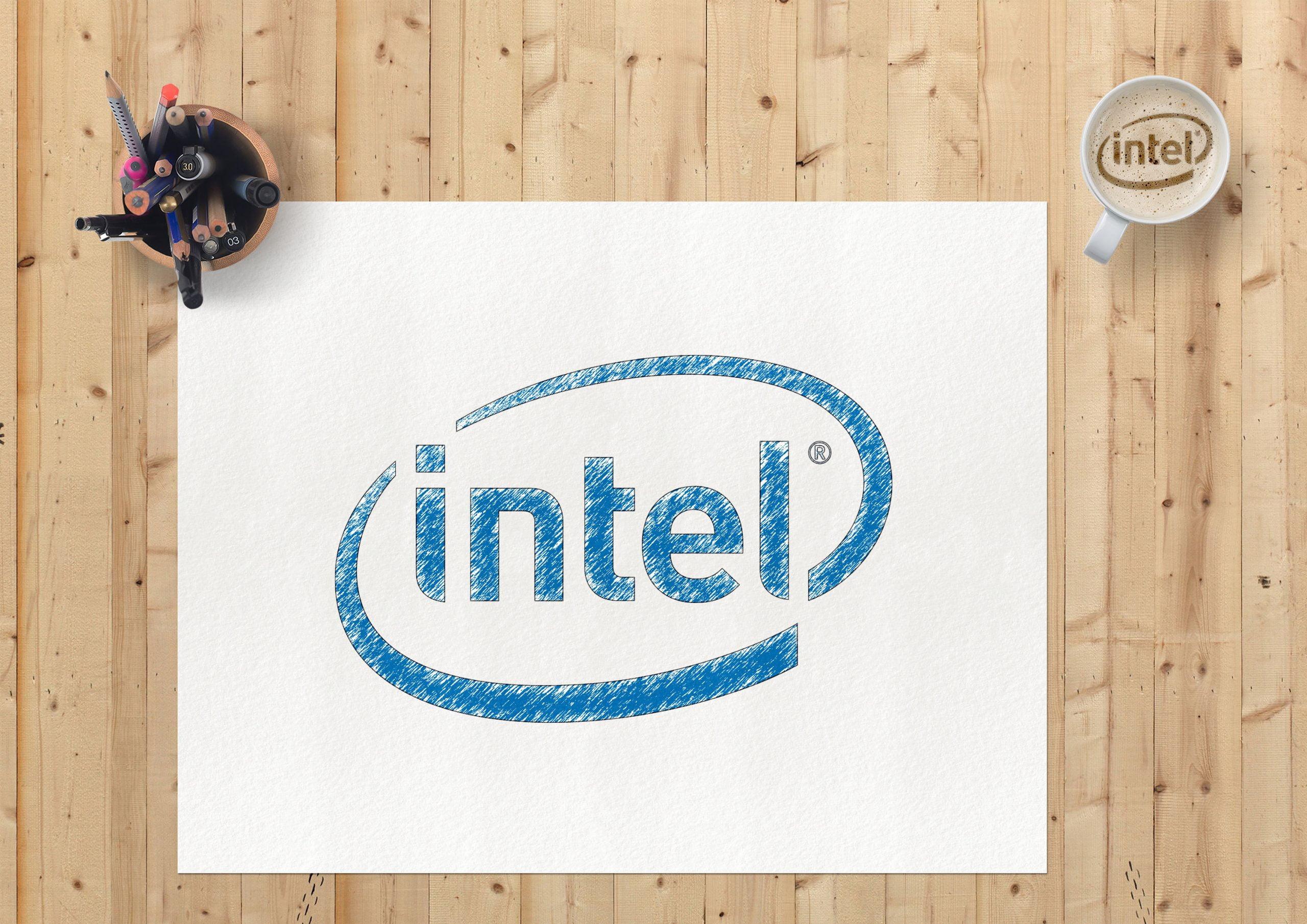 Sketch Paper Logo Mockup Intel