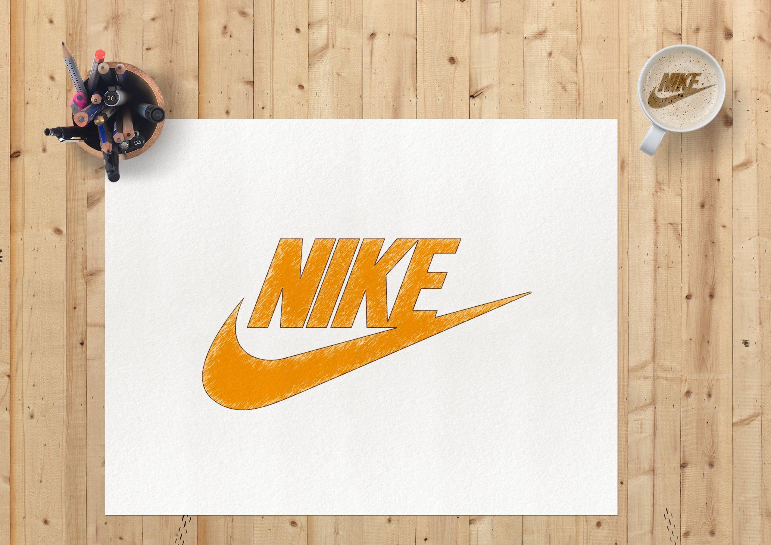 Sketch Paper Logo Mockup Nike