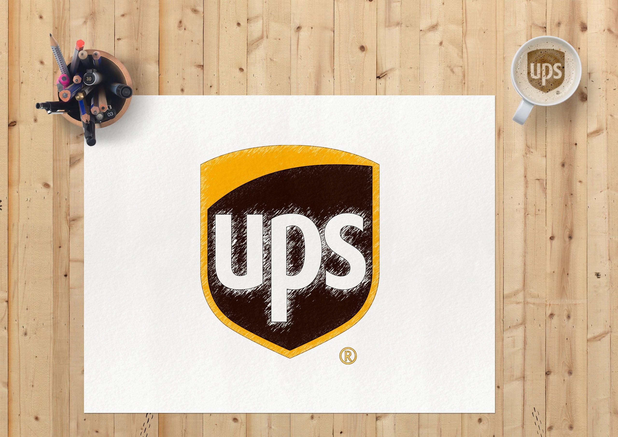 Sketch Paper Logo Mockup UPS